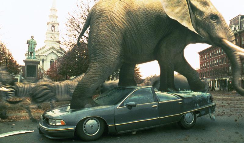 """Ich bin ein Elefant, Madame: Eine von """"Jumanji"""" herbeigezauberte wilde Elefantenherde stampft durch den Ort und hinterläßt eine Schneise der Verwüstung ... – Bild: RTL Zwei"""