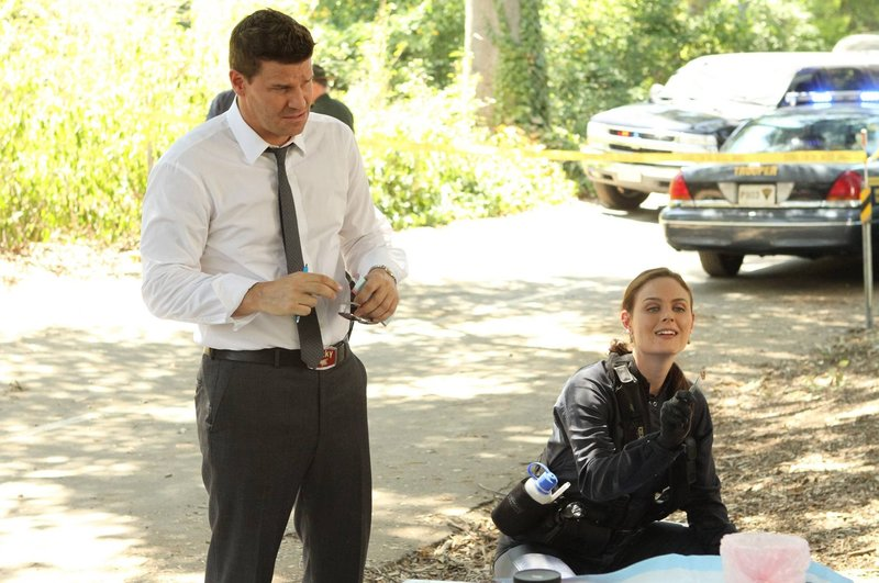 Booth (David Boreanaz) kann Brennans (Emily Deschanel) Begeisterung über den gefundenen Zahn im Erbrochenen des Opfers nicht teilen - er ist einfach nur angeekelt... – Bild: M6