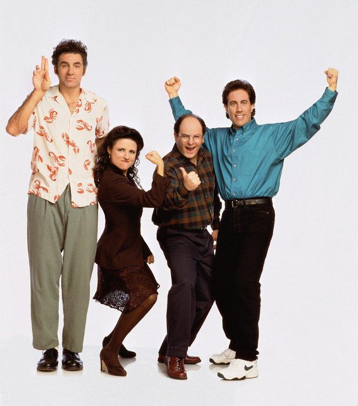 6. Staffel (v.l.): Kramer (Michael Richards), Elaine (Julia Louis-Dreyfus), George (Jason Alexander) und Jerry (Jerry Seinfeld) – Bild: RTL NITRO
