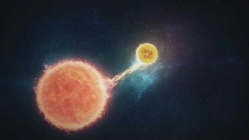 Ein Roter Riese gibt Materie an den masseärmeren gelben Stern ab. – Bild: n-tv