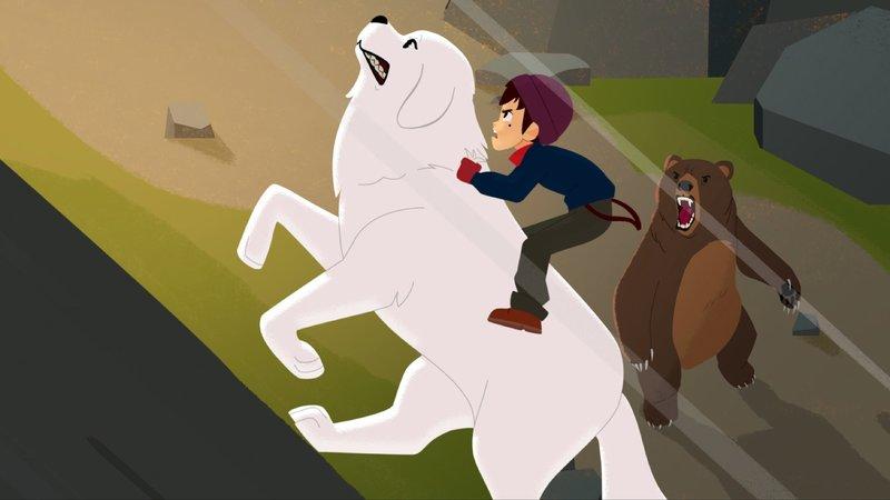 Belle hat Sebastian in letzter Sekunde aus der Höhle des Bären gerettet.– Bild: KiKA