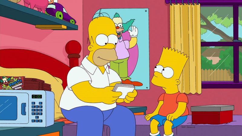 """""""Die Simpsons"""", """"Moonshine River."""" Nachdem Bart bewusst geworden ist, dass von all seinen Verflossenen Mary die Einzige war, die ihn wahrscheinlich wirklich geliebt hat, will er unbedingt wieder Kontakt mit ihr aufnehmen. Angeblich wohnt Mary jetzt in New York. Krank vor Sehnsucht reist Bart zum Big Apple, um nach ihr zu suchen. Derweil nutzen Lisa und Marge die Stippvisite zum Sightseeing. Ihr mageres Budget treibt die beiden in eine Freiluftaufführung von Shakespeare, die jedoch alles andere als wunschgemäß verläuft. – Bild: ORF eins"""