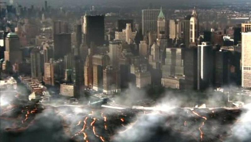 Illegale Bohrungen unter der Stadt New York führen zu einer unfassbaren Katastrophe. Zu nah am Inneren der Erde führen die Bohrlöcher vorbei, mit denen der Forscher Dr. Levering, raffgierige Amtsinhaber und Geldgeber billig Energie erzeugen wollen. Das Meer brodelt vor Hitze und uralte Vulkane erwachen wieder. (Szenenbild) – Bild: TMG