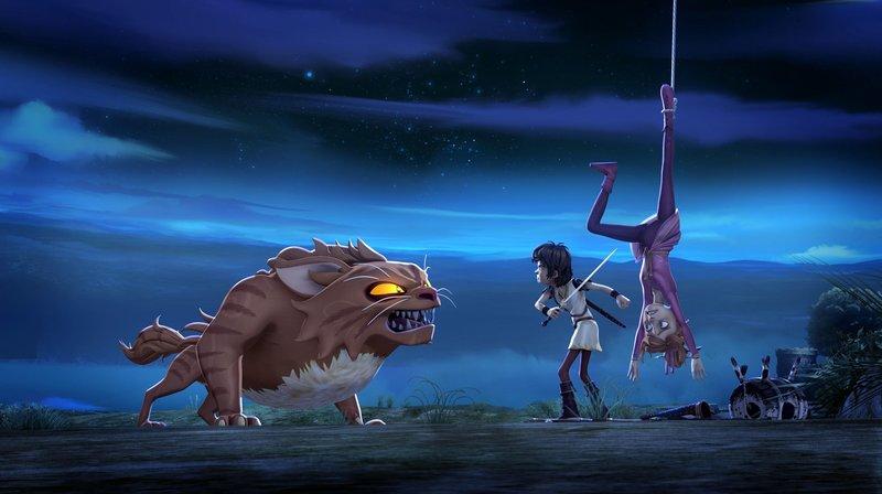 Ein Monster bedroht Arthur und die in der Monsterfalle gefangene Guinevere. – Bild: SWR/Blue Spirit Productions/Télé