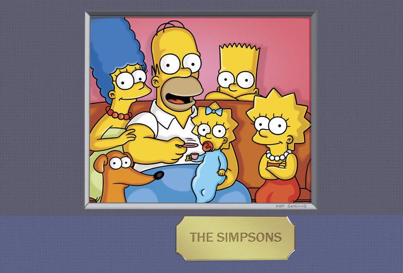 (24. Staffel) - Die Simpsons: Maggie (3.v.l.), Marge (l.), Homer (2.v.l.), Bart (2.v.r.) und Lisa Simpson (r.) ... – Bild: ProSieben