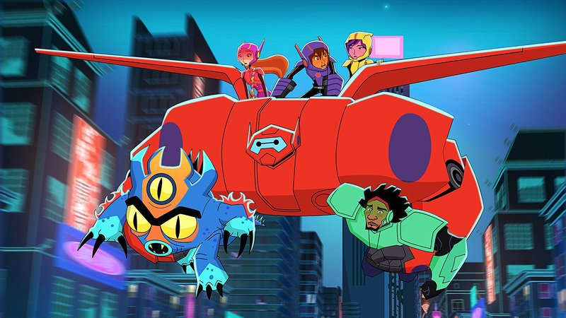 "BIG HERO 6 - ""Baymax Returns"" - Set in the fictional city of San Fransokyo, 14-year-old tech genius Hiro begins school as the new prodigy at San Fransokyo Institute of Technology and sets off to rebuild Baymax. However, his overconfidence and penchant for taking shortcuts leads him and the newly minted Big Hero 6 team Ð Wasabi, Honey Lemon, Go Go and Fred Ð into trouble. The one-hour premiere airs Monday, November 20 (8:00 - 9:00 P.M. EDT) on Disney XD. (Disney XD) FRED, BAYMAX, HONEY LEMON, HIRO HAMADA, GOGO TOMAGO, WASABI – Bild: Disney Television Animation"
