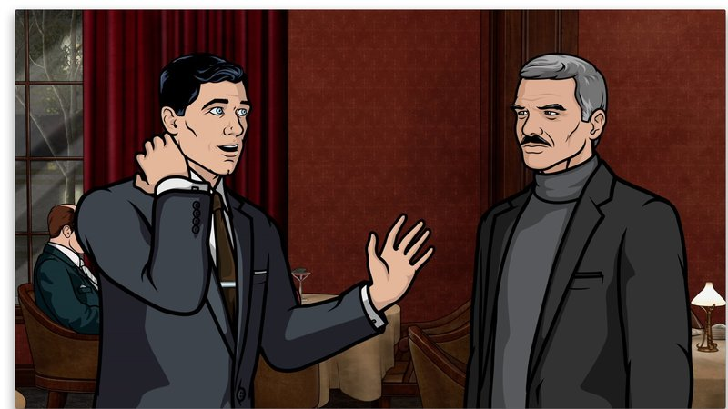 Archer (l.) ist entsetzt, als er erkennt, dass sein Mutter ausgerechnet sein Idol Burt Reynolds (r.) datet ... – Bild: 2012 FX Networks, LLC All rights reserved. Lizenzbild frei