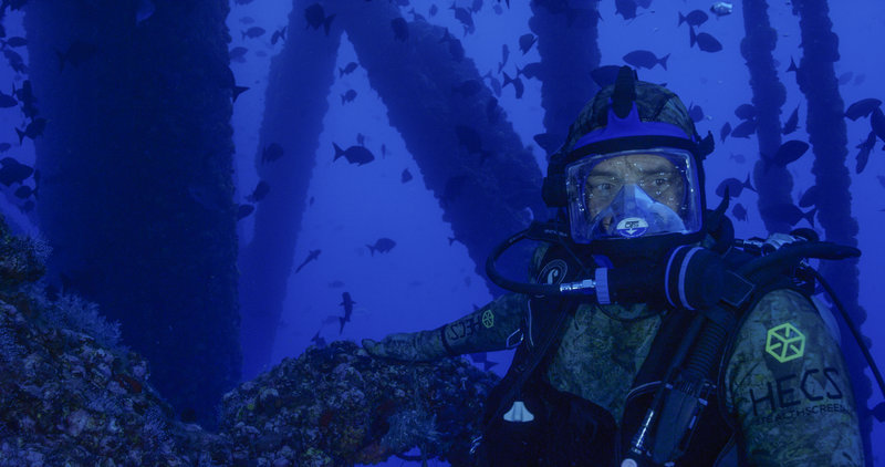 Mike Newman hunts for sharks on an oil rig. – Bild: Discovery Channel / Discovery Communications