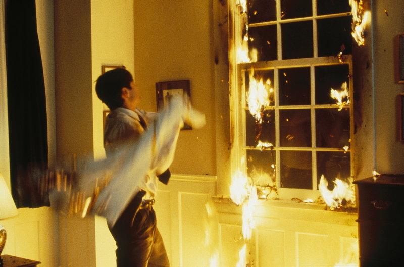 Mulder (David Duchovny) hat sichtlich Mühe, das Flammenmeer zu löschen. – Bild: ProSieben MAXX