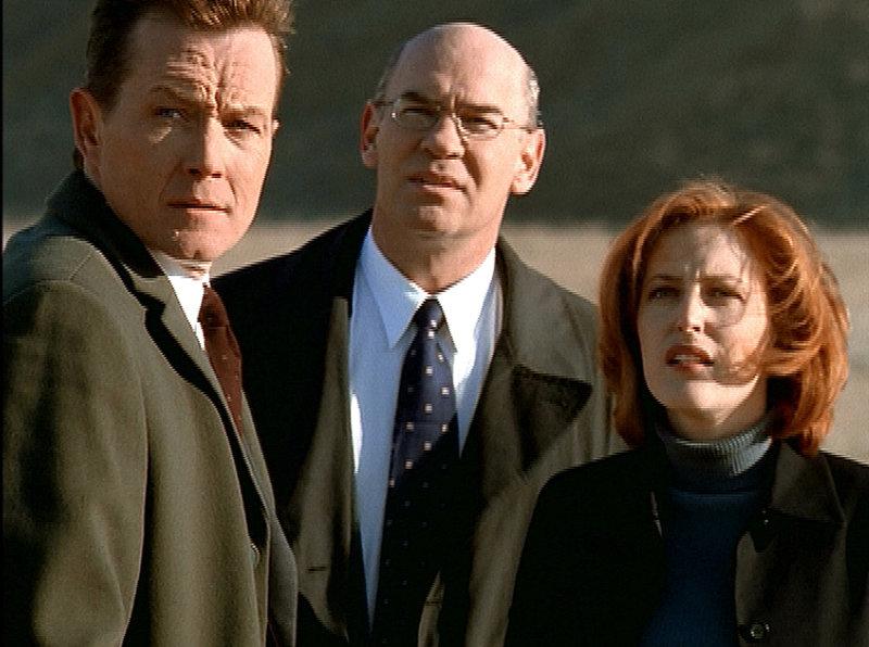 Scully (Gillian Anderson, r.), Doggett (Robert Patrick, l.) und Skinner (Mitch Pileggi, M.) sind in Montana einem Raumschiff auf der Spur, das halbtote Entführungsopfer in einem Feld ablädt. – Bild: ProSieben MAXX