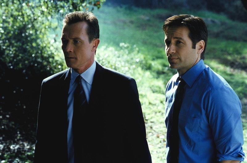 Doggett (Robert Patrick, l.) und Mulder (David Duchovny, r.) haben großen Sorgen, weil Scully wegen Komplikationen ins Krankenhaus eingeliefert wurde. – Bild: ProSieben MAXX