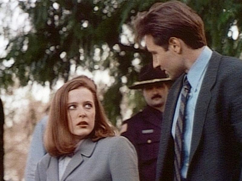 Die FBI-Agentin Scully (Gillian Anderson, l.) steht der Theorie ihres Partners Mulder (David Duchovny, r.), dass vier Jugendliche von außerirdischen Wesen entführt und getötet wurden, skeptisch gegenüber. – Bild: ProSieben MAXX