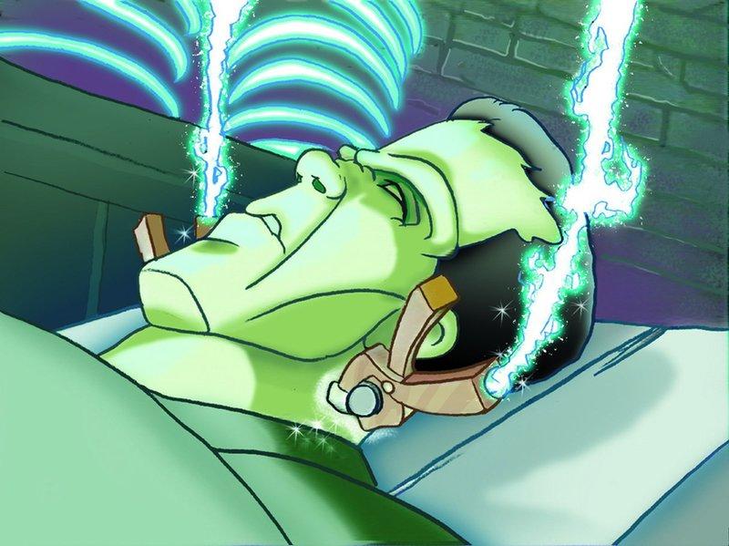 Dr. Frankenstein hat sich mit seiner Monsterkreation im Schloss eines Vergnügungsparks eingenistet. Die drei Streifenhörnchen können ihre Neugierde nicht zügeln und schleichen sich in das Gebäude. – Bild: Super RTL