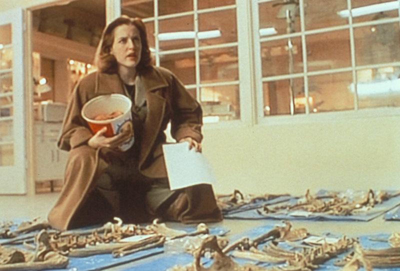 Scully (Gillian Anderson) gelingt es, aus einer riesigen Menge von Knochen, die aus einem mit Abwässern verschmutzten Fluss gezogen wurden, neun verschiedene Skelette zusammenzusetzen, denen jedoch allen der Kopf fehlt ... – Bild: ProSieben MAXX