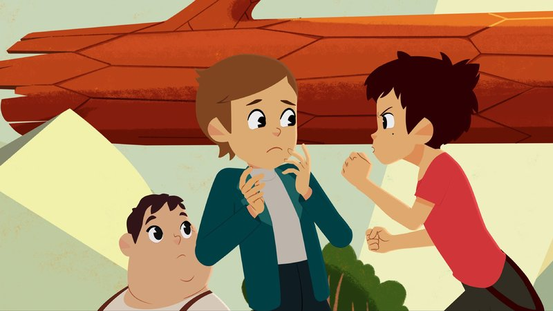 Amadeus (Mitte) bringt Sebastian (re.) zur Weiüglut.– Bild: KiKA