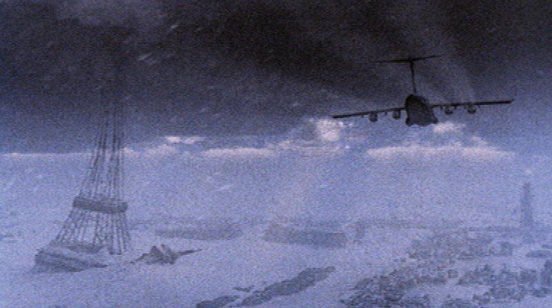 Ganz Europa ist von massiven Eis- und Schneemassen bedeckt. Im letzten Flugzeug können sich die Wissenschaftlerin Anna Starndorf und der Sicherheitsbeamte Tom Parker ins sichere Marokko flüchten. – Bild: RTL NITRO