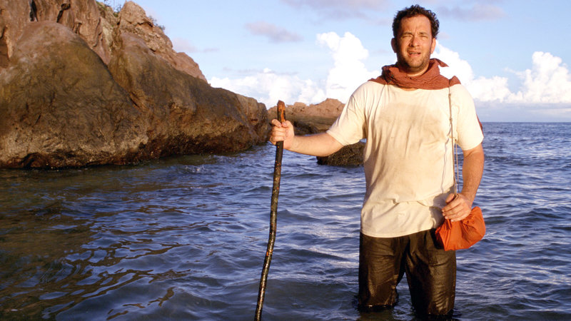 Als einziger Überlebender eines Flugzeugabsturzes strandet Chuck Noland (Tom Hanks) auf einer unbewohnten Insel mitten im Pazifik – Bild: RTL II