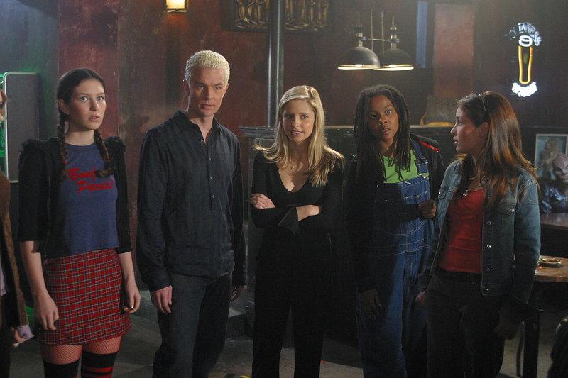 Buffy (Sarah Michelle Gellar, M.) holt sich die Unterstützung von Spike (James Marsters, 2.v.l.), um den potentiellen Jägerinnen ein anschauliches intensives Training zu bieten._Titel: Buffy - Im Bann der Dämonen – Bild: sixx