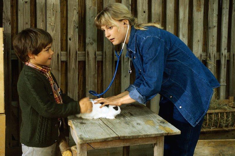 5. Andrea (Katharina Köhntopp) untersucht mit ihrem kleinen Bruder Florian (Sascha/Dennis Hornig) ein Kaninchen für den Streichelzoo der Kinderstation des Krankenhauses. – Bild: ZDF