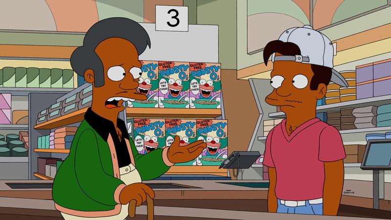 Ein Streit mit seinem Bruder Sanjay führt dazu, dass Apus (l.) junger Neffe Jamshed (r.) den Kwik-E-Mart übernimmt. Dieser verwandelt den Laden in ein hippes Geschäft mit gesunden Produkten, was Apus Traditionsbewusstsein gar nicht gefällt ... – Bild: 2015 Fox and its related entities. All rights reserved. Lizenzbild frei