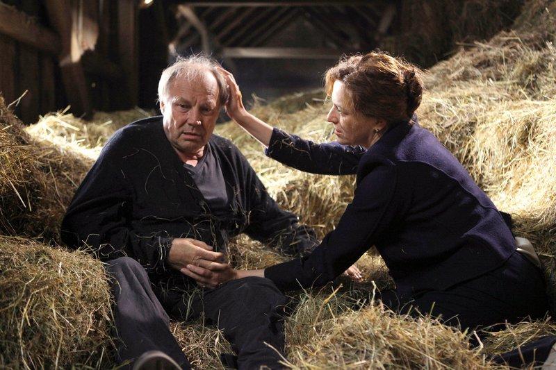 Judith (Martina Gedeck) muss Ernst (Klaus Maria Brandauer) beruhigen, der sich bei einem Ausflug zum Bauernhof ganz plötzlich verloren fühlt. – Bild: SWR/Petro Domenigg