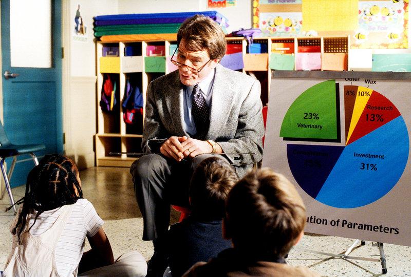 Hal (Bryan Cranston) erzählt in Deweys Klasse von seiner Arbeit. – Bild: ORF eins