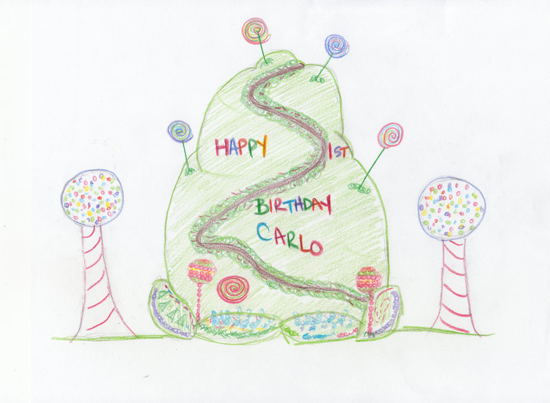 A sketch of Carlo's birthday cake. – Bild: TLC