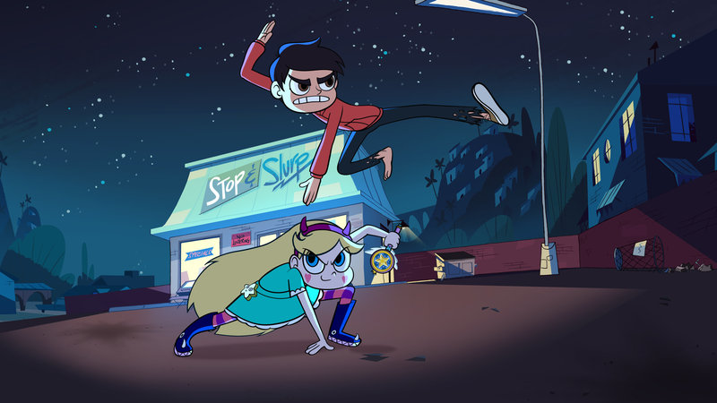 """STAR VS. THE FORCES OF EVIL - """"Star Comes to Earth"""" - As tradition dictates, Star receives the royal magic wand for her 14th birthday, but her parents worry that she is not ready for the responsibility and send her to a place they deem safe ? Earth. This episode of """"Star vs. The Forces of Evil"""" premieres Sunday, January 18 on Disney Channel (9:00 p.m., ET/PT). (Disney XD) STAR, MARCO – Bild: 2014 Disney Enterprises, Inc. All rights reserved."""