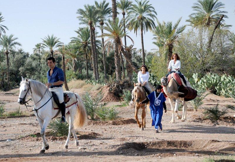 Armine Baka (Erol Sander), Mira Schiller (Lena Beyerling, 2.v.re.) und Saskia Schiller (Christina Plate) machen in Marokko einen Reitausflug. – Bild: NDR/Degeto/Rainer Gutjahr