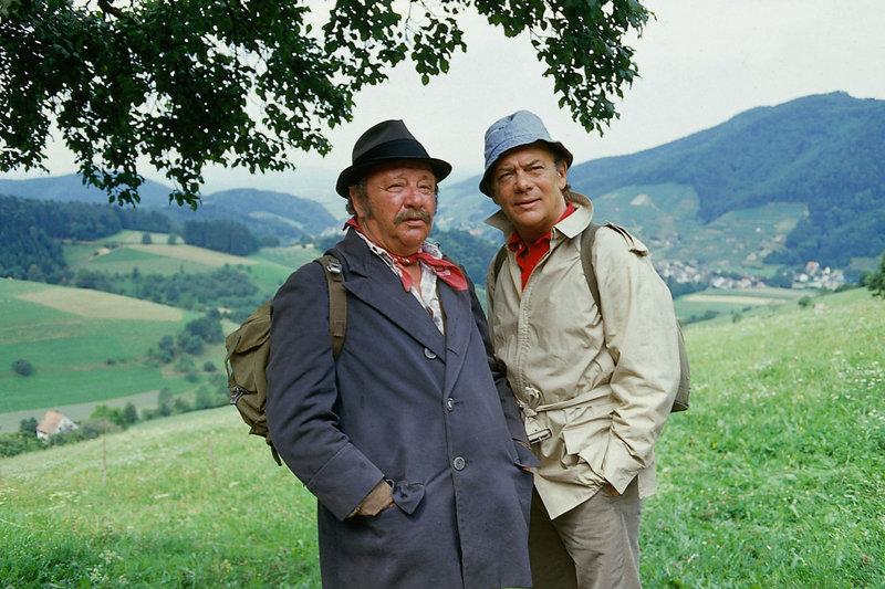 Prof. Brinkmann (Klausjürgen Wussow) trifft beim Besuch in seiner Berghütte einen Gast (Gustl Bayrhammer), der auf der Durchreise ist, mit dem er sich aber bald blendend versteht. – Bild: ZDF und Thomas Waldhelm