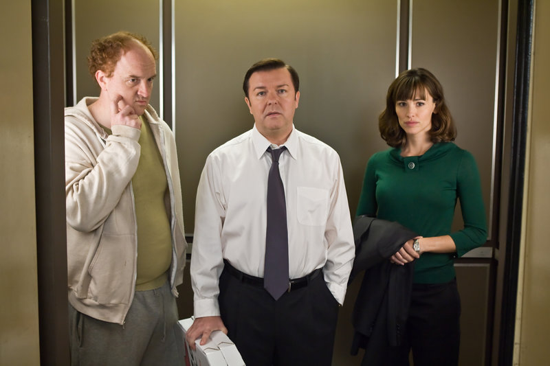 Louis C.K. (Greg), Ricky Gervais (Mark Bellison), Jennifer Garner (Anna McDoogles). – Bild: ORF