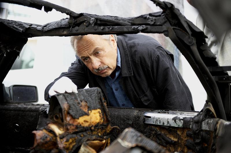 Stubbe (Wolfgang Stumph) betrachtet interessiert den Tatort. – Bild: ZDF