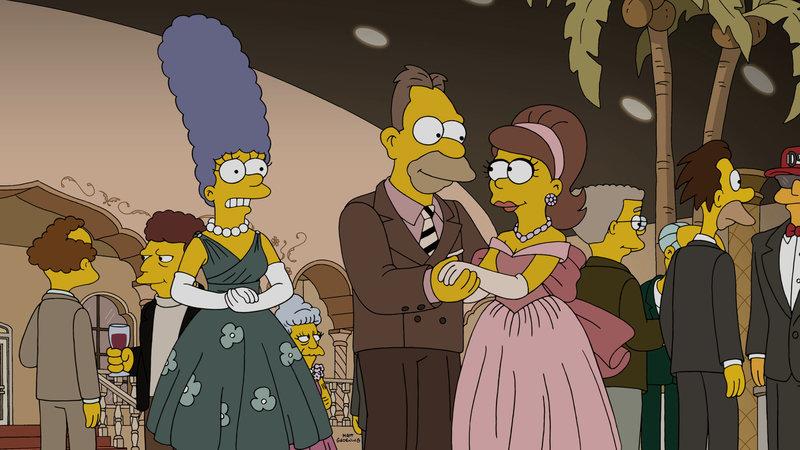"""""""Die Simpsons"""", """"Liebe liegt in der N2-O2-Ar-CO2-Ne-He-CH4."""" In Springfield ist Valentinstag und überall liegt Liebe in der Luft. Lediglich Professor Frink fühlt sich einsam. Der arme Kerl scheint einfach kein Glück bei den Frauen zu haben. Doch noch ist nicht aller Tage Abend. Mithilfe von blauen Kontaktlinsen und einem Stimmenmodulator hofft er, die holde Weiblichkeit endlich von sich zu überzeugen. Währenddessen besuchen Marge und Homer Grampa im Altersheim. Wie sie feststellen müssen, werden den Senioren dort halluzinogene Drogen verabreicht. – Bild: ORF eins"""