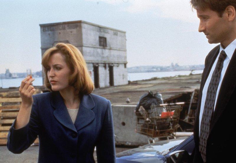 Dana Scully (Gilian Anderson, l.); Fox Mulder (David Duchovny, r.) – Bild: 1995 Twentieth Century Fox Film Corporation. All rights reserved. Lizenzbild frei
