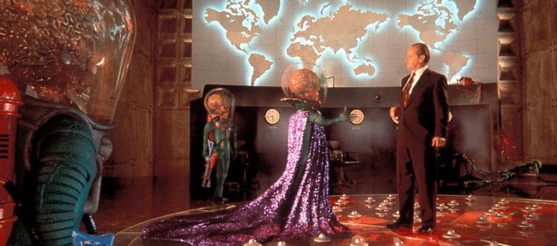 Präsident Dale (Jack Nicholson) vermasselt die diplomatische Kontaktaufnahme mit den Invasoren vom Mars. – Bild: Warner Bros. Pictures Lizenzbild frei