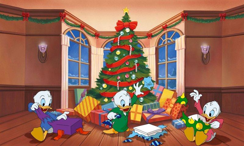 Tick, Trick und Track können es kaum erwarten ihre Weihnachtsgeschenke auszupacken. – Bild: Disney Channel