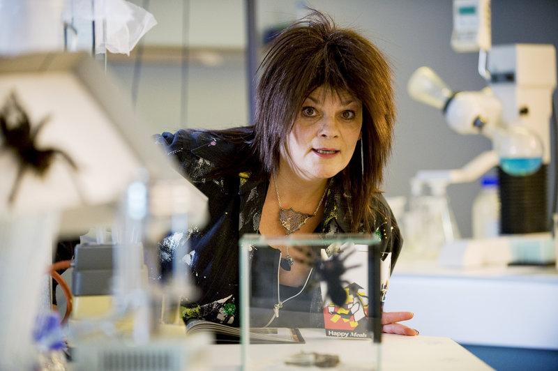 Prof. Dr. Splitgerber (Gayle Tufts) ist eine internationale Expertin für Spinnenforschung. – Bild: ZDF und Antje Dittmann