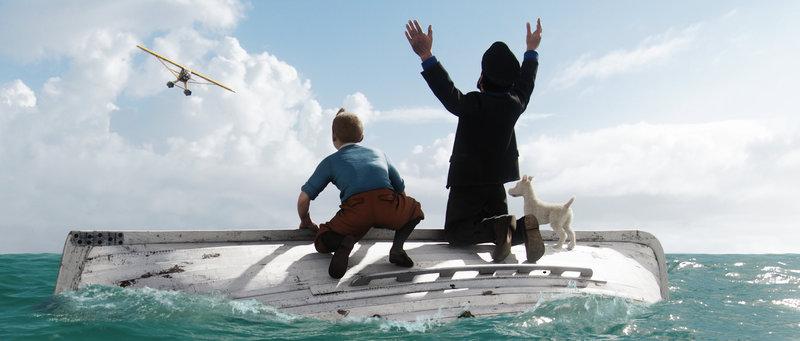 Bei ihrem Abenteuer geraten Tim (l.), Kapitän Haddock (M.) und Struppi (r.) in große Gefahr ... – Bild: kabel eins Classics