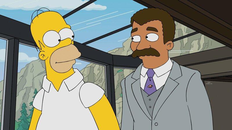 Sind sich einig, dass sie dem skrupellosen Vorhaben von Mr. Burns ein Ende machen müssen: Homer (l.) und Neil deGrasse Tyson (r.) ... – Bild: ORF 1