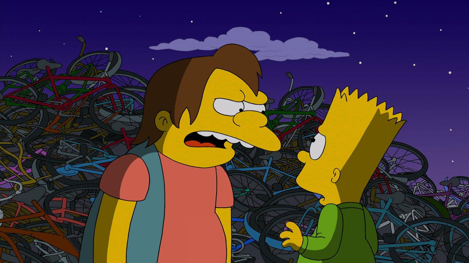 Bart (r.) wird von einem halbstarken Rowdy (l.) bedroht – er ahnt noch nicht, dass dieses Erlebnis seinen Vater Homer verändern wird… – Bild: 2013 Twentieth Century Fox Film Corporation. All rights reserved. Lizenzbild frei