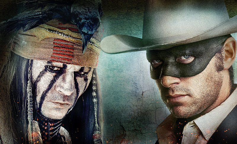 Zusammen mit dem kauzigen Komantschen Tonto (Johnny Depp, l.) begibt sich John Reid (Armie Hammer) als maskierter Lone Ranger auf die Suche nach den Mördern seines Bruders. – Bild: Disney Enterprises, Inc. and Jerry Bruckheimer Inc. All Rights Reserved.
