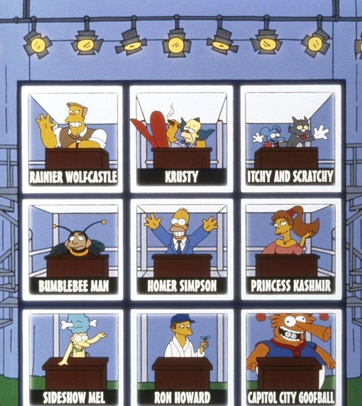 Als Bowling-Star tritt Homer (M.) in einem Fernsehquiz auf. – Bild: ProSieben