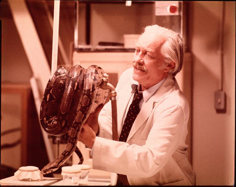 Dr. Carl Stoner (Martin Strother) will das ideale Geschöpf erschaffen - ein Lebewesen mit der Intelligenz eines Menschen und dem Überlebenswillen einer Schlange. Jedes Mittel ist ihm dabei recht ... – Bild: 1973 Universal Pictures. All Rights Reserved. Lizenzbild frei