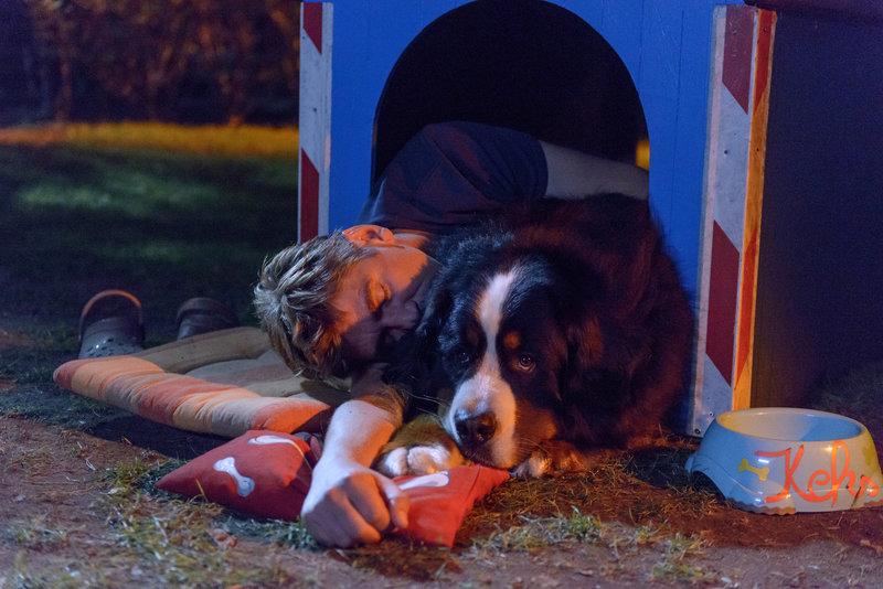 Endlich schlafen, bei seinem besten Kumpel Keks findet Fritz (Guido Hammesfahr) Ruhe vor Herrn Kluthe (Holger Handtke). – Bild: ZDF