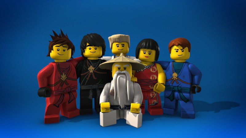 Meister Sensei Wu und seine Ninaja-Schüler Kai, Cole, Zane, Nya und Jane (v.l.). – Bild: 2011 LEGO Group