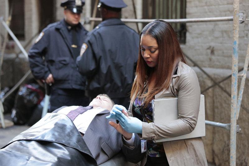 Am Tatort angekommen, macht sich Lanie (Tamala Jones) an die Untersuchung ... – Bild: Puls 4