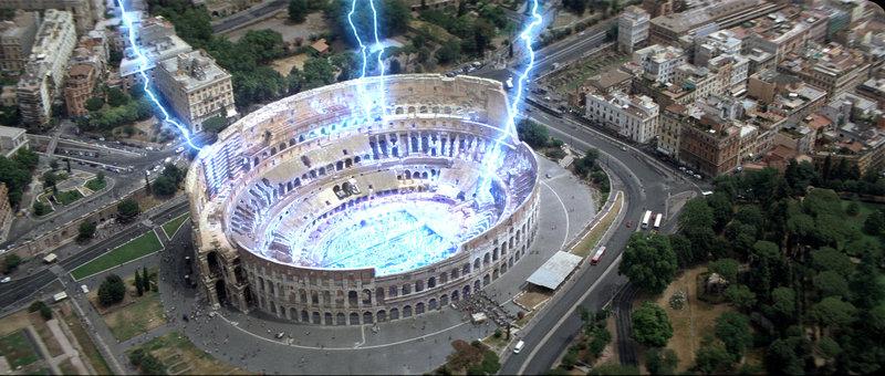 In Rom legt ein elektrischer Supersturm das antike Kolosseum in Schutt und Asche ... – Bild: Puls 4