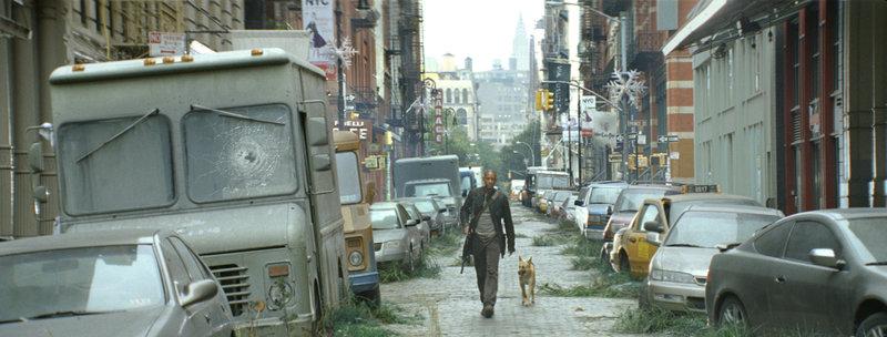 Gemeinsam mit seinem treuen Gefährten versucht Robert Neville (Will Smith) die Menschheit zu retten ... – Bild: Puls 4