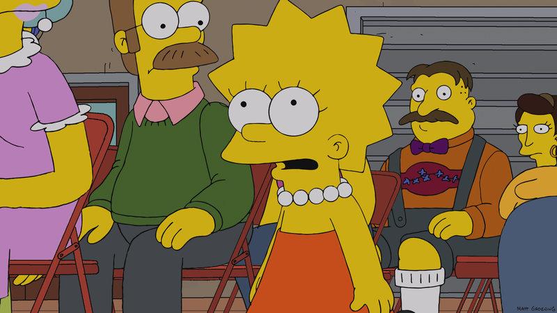 Während Homer plötzlich sehr kritisch auf sein Leben blickt, setzt Lisa (M.) an der Springfield Elementary einen neuen Ehrenkodex durch ... – Bild: Puls 8