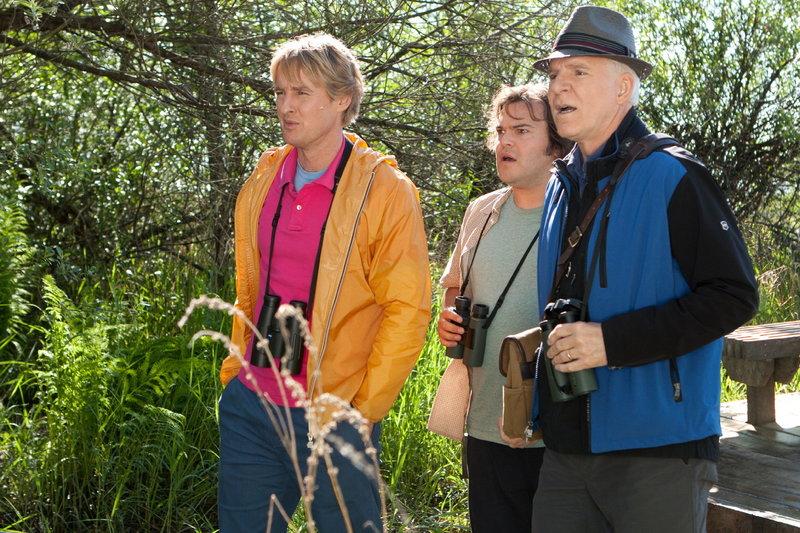 Um einen landesweiten Wettbewerb zu gewinnen, müssen die leidenschaftlichen Ornithologen Kenny (Owen Wilson, .), Brad (Jack Black, M.) und Stu (Steve Martin, r.) innerhalb eines Kalenderjahres möglichst viele verschiedene Vogelarten finden ... – Bild: Puls 8